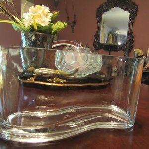 Vintage Very Thick Heavy Unique Wave Vase